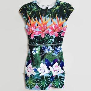 Asymmetrical Tropical Floral Scuba Dress